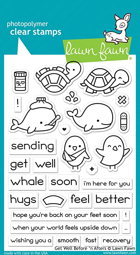 Lawn Fawn Get Well Before n Afters 4x6 Clear Stamp Set LF1886
