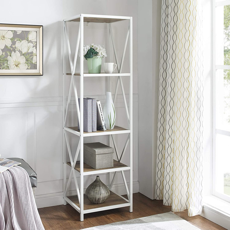 Walker Edison Furniture Company 4 Tier Open Shelf Wood Tall Bookcase Bookshelf Home Office Storage Cabinet, 18 Inch, Reclaimed Barnwood/White Metal