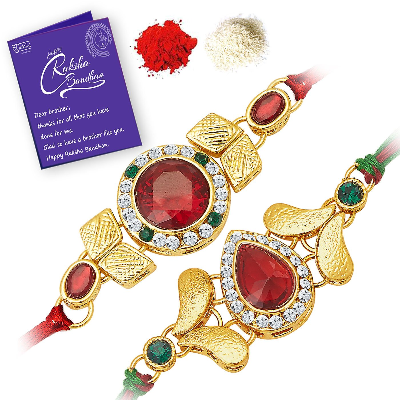 Buy Sukkhi Cluster Rakhi Combo Set Of 2 With Roli Chawal And