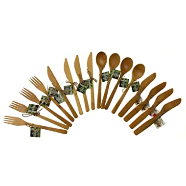 Totally Bamboo Flatware Service for 4, 100% Bamboo, Reusable Cutlery Fork, Knife, Spoon & Spreader 16-Piece Bundle