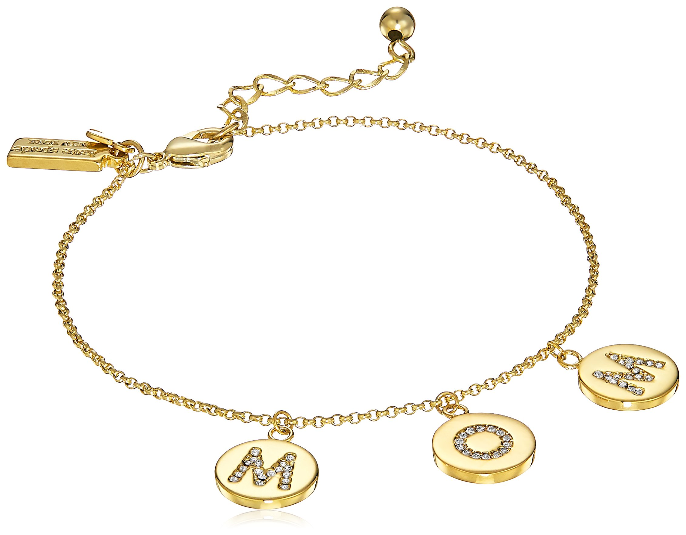 Kate Spade New York Pave Mom Charm Bracelet Mom Knows Best Pave Mom Charm Clear/Gold Bracelet