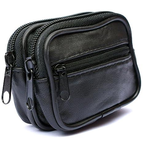 Hombre Cartera Cinturón - Riñonera Monedero Cuero - Piel Auténtica Bolsa
