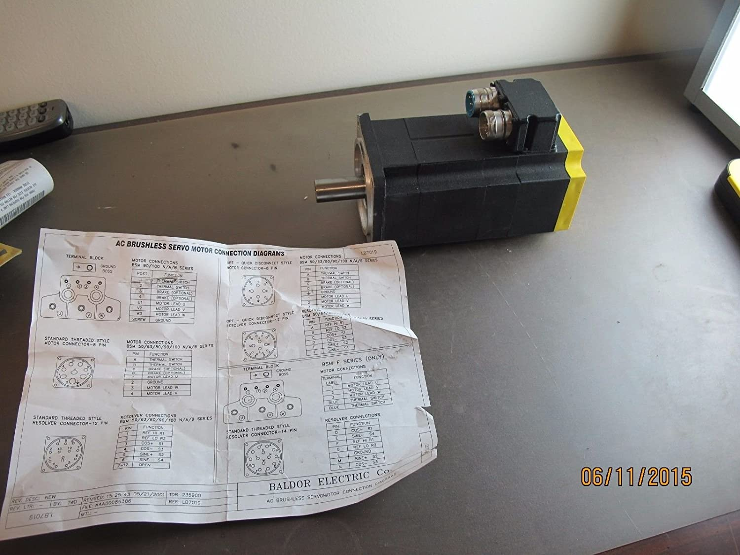 Baldor Brushless Ac Servo Motor Bsm80c 250aa Disconnect Electrical Connection Diagram Industrial Scientific