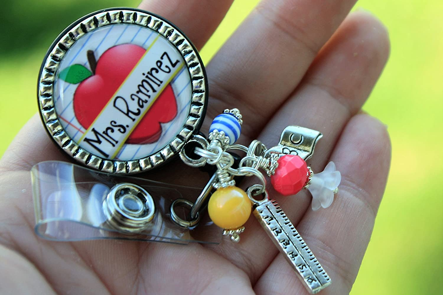Teacher apple badge reel ID holder personalized with name gift
