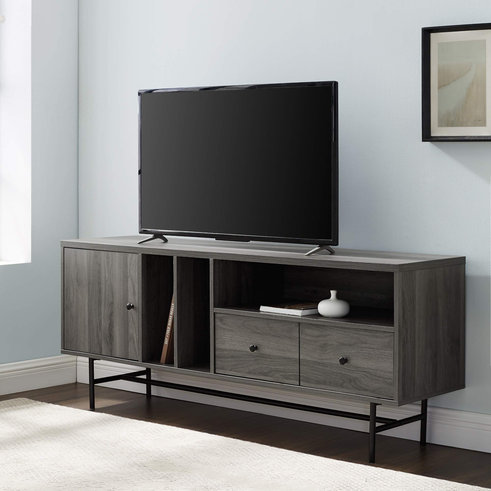 WE Furniture Modern 1-Drawer TV Stand with Record Storage, 60'', Slate Grey by WE Furniture