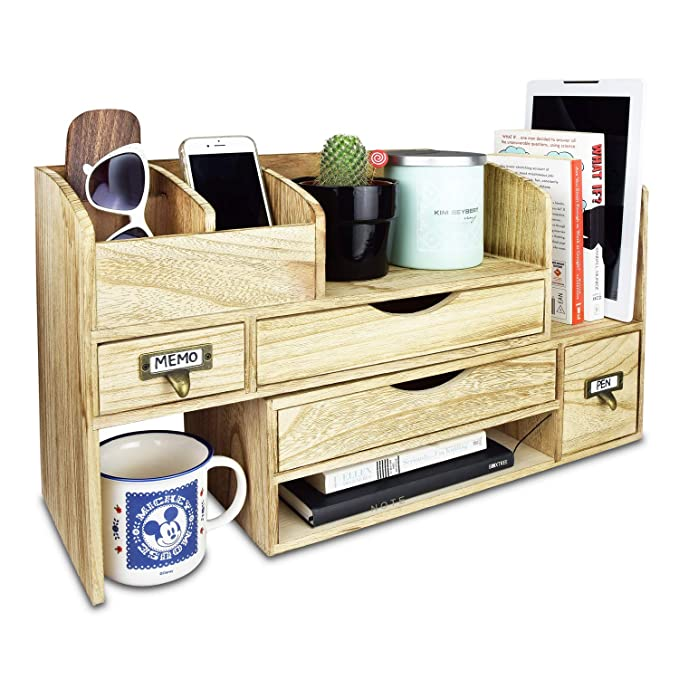 Large Adjustable Wooden Desktop Organizer