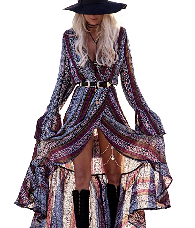 R.Vivimos Womens Summer Long Sleeve Cardigan Sexy Maxi Long Dresses (Multicolor-Pink/Navy Blue, XL)