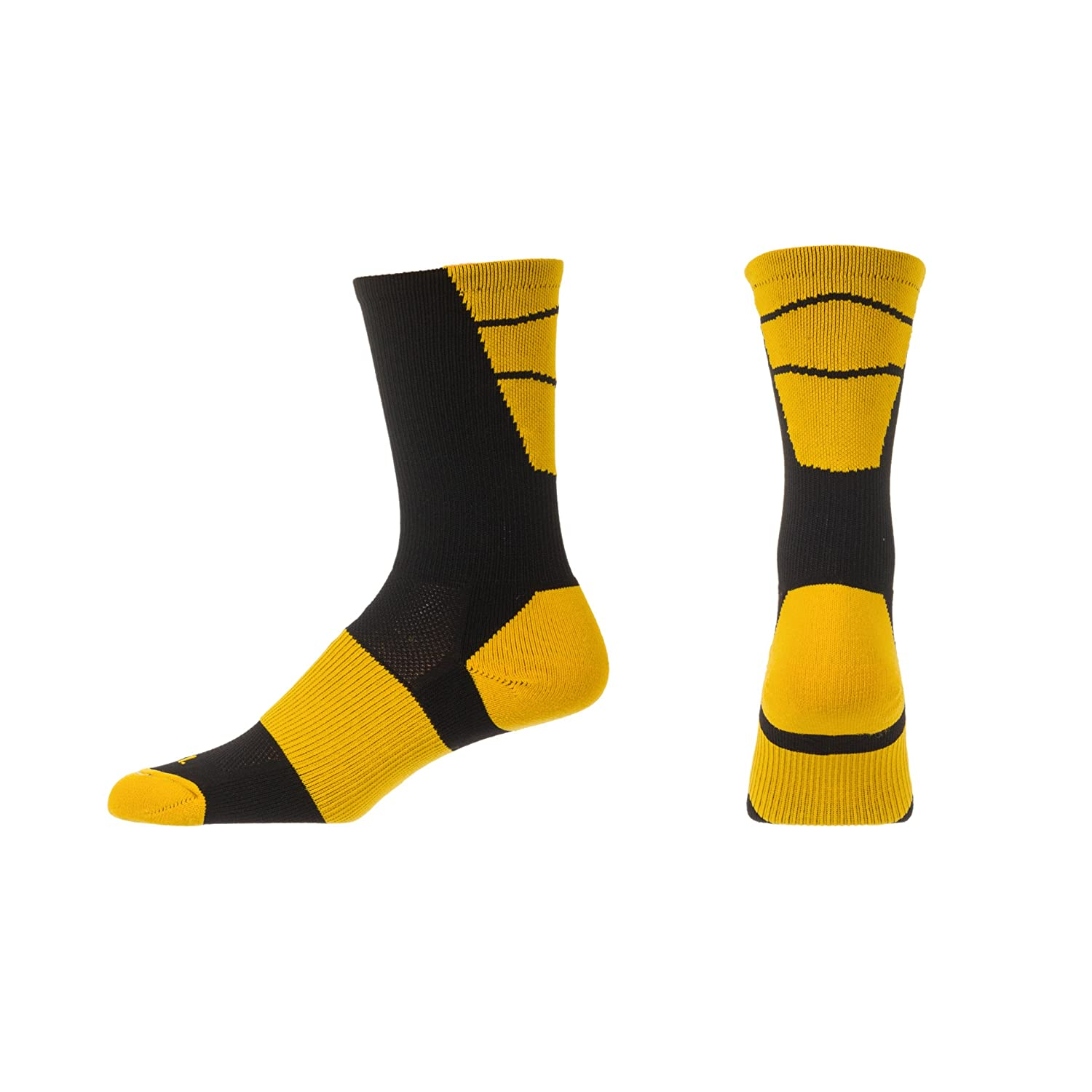 CSI Point Guard Performance Crew Socks Made In The USA Black//Ath Gold