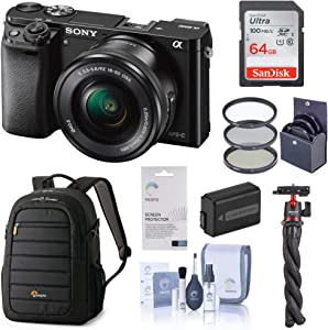Sony Alpha a6000 Mirrorless Digital Camera 24.3MP (Black) with 16-50mm Lens (ILCE6000L/B), Travel Bundle with Lowepro Backpack, Battery, Filter Kit, Mini Tripod, 64GB SD Card, and Accessories