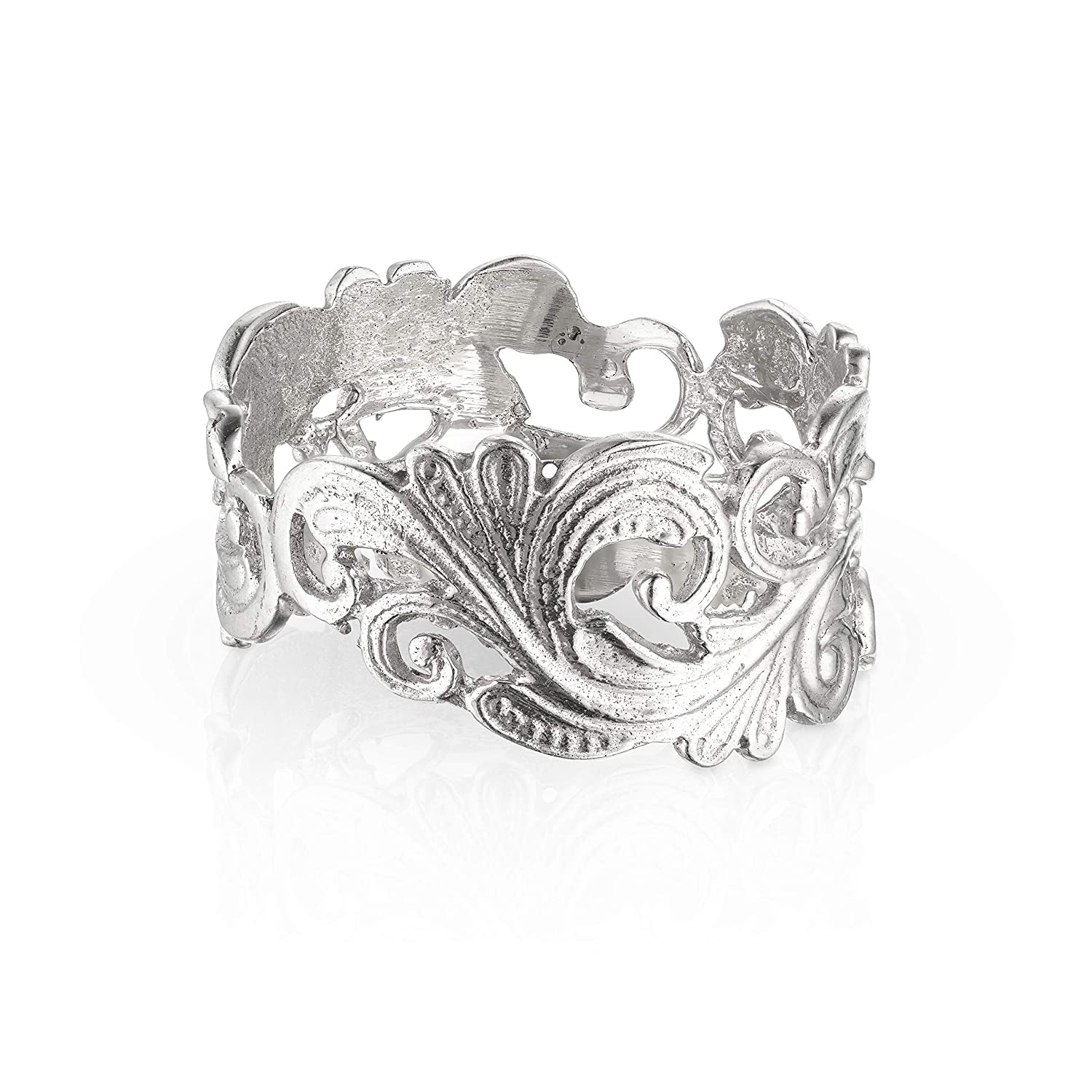 Amazon Com Handmade Sterling Silver Vintage Style Ring For Women Art Deco Lace Anniversary Gift Size 7 5 Handmade