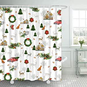 """TAMOC Christmas Farmhouse Shower Curtain with 12 Hooks, Vintage Red Truck Shower Curtain for Bathroom, Xmas Christmas Wreath Squirrel and Reindeer Shower Curtain, 69"""" W x 70"""" L"""