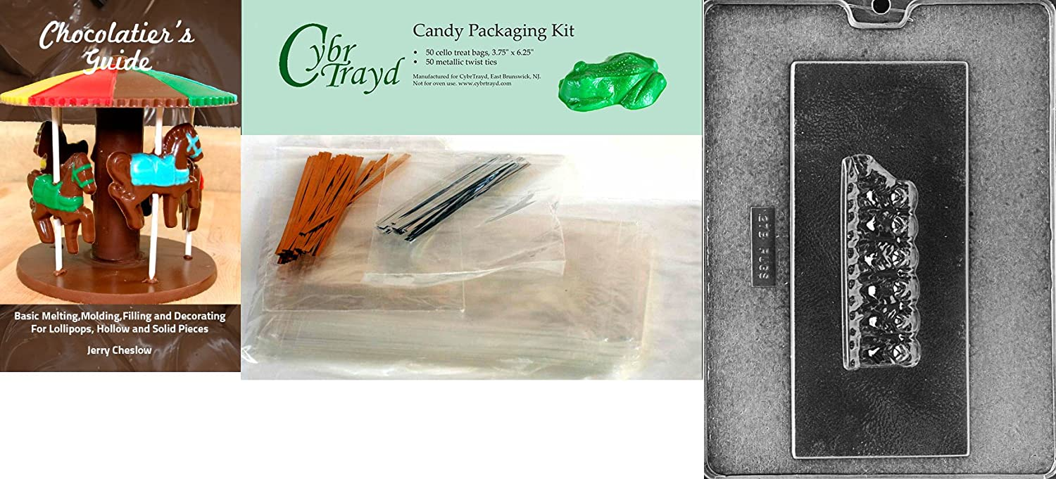 25 Gold and 25 Silver Twist Ties Includes 50 Cello Bags Cybrtrayd Pugs on a Bar Dog Chocolate Candy Mold with Chocolatiers Bundle