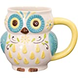 Floral Owl Mug, Hand Painted Ceramic, 16 Ounce Capacity, By Boston Warehouse