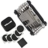 Vibrelli Bike Multi Tool V19 - With Glueless Puncture Repair Kit & Carry Case - Bicycle Multitool