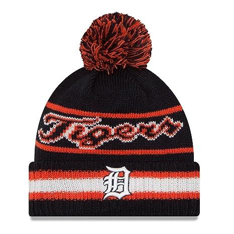 finest selection 2e353 b8a5e Image Unavailable. Image not available for. Color  Detroit Tigers New Era  Vintage Select Pom Knit Beanie Hat   Cap