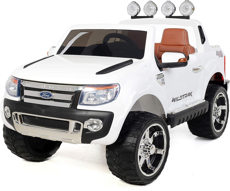 RIRICAR Electric Ride On Toy Car Ford Ranger Wildtrak, 2 X MOTOR, two seats in leather, Soft EVA wheels, white, MP3 USB, SD card, original Ford