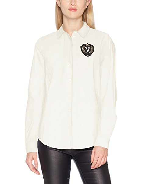 Vero Moda Vmleah Badge LS Shirt, Blusa para Mujer, Blanco (Snow White Detail