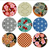 Pack of 90 Japan style Decorative Adhesive Label 1.53'' Personalized Stickers Packaging Seals Crafts Handmade Baked Envelope Label Decorative Sticker (Japan style 90pcs)