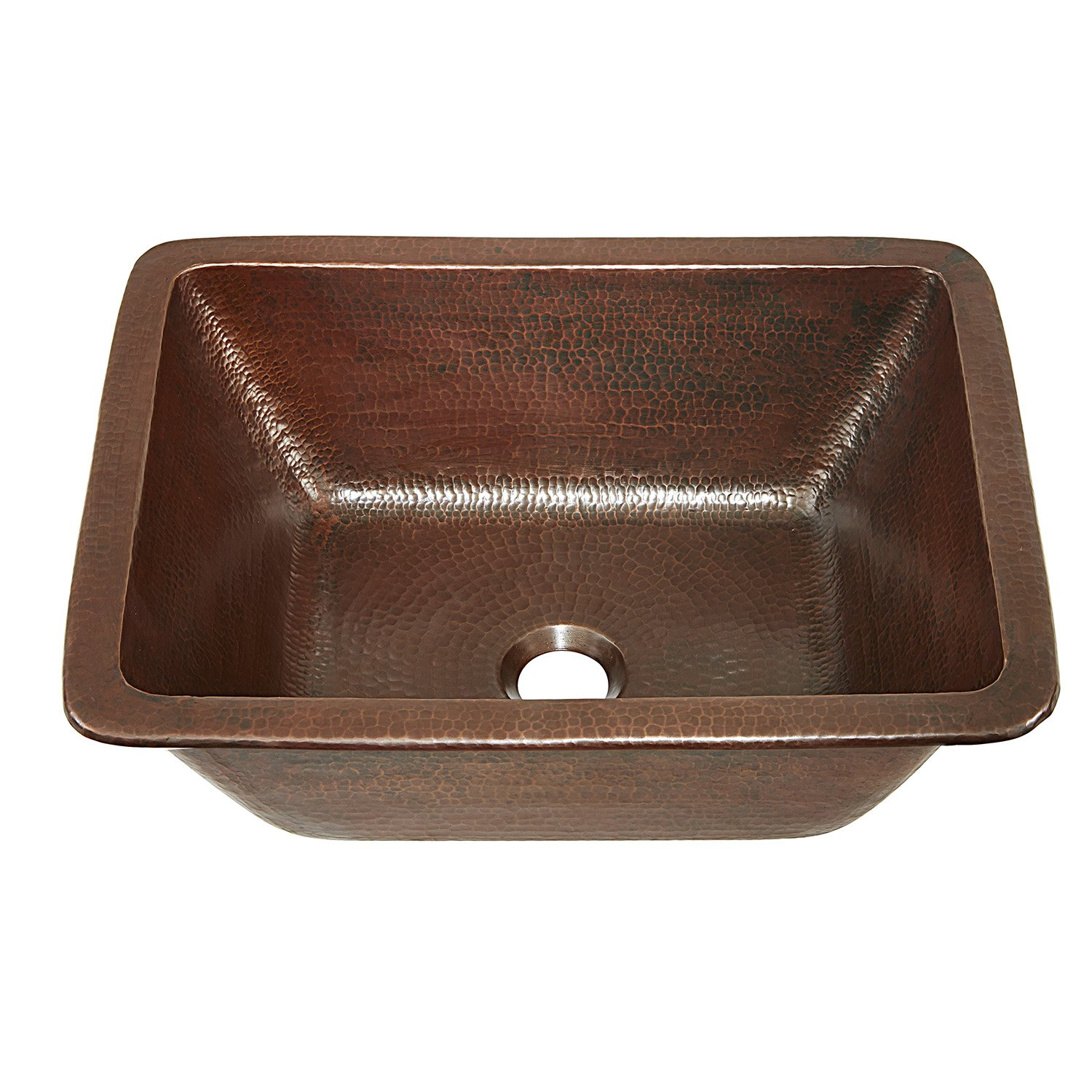 Sinkology SB205-17AG Hawking Pure Solid Dual Mount Bath Sink Handmade, 17'', Aged Copper by Sinkology