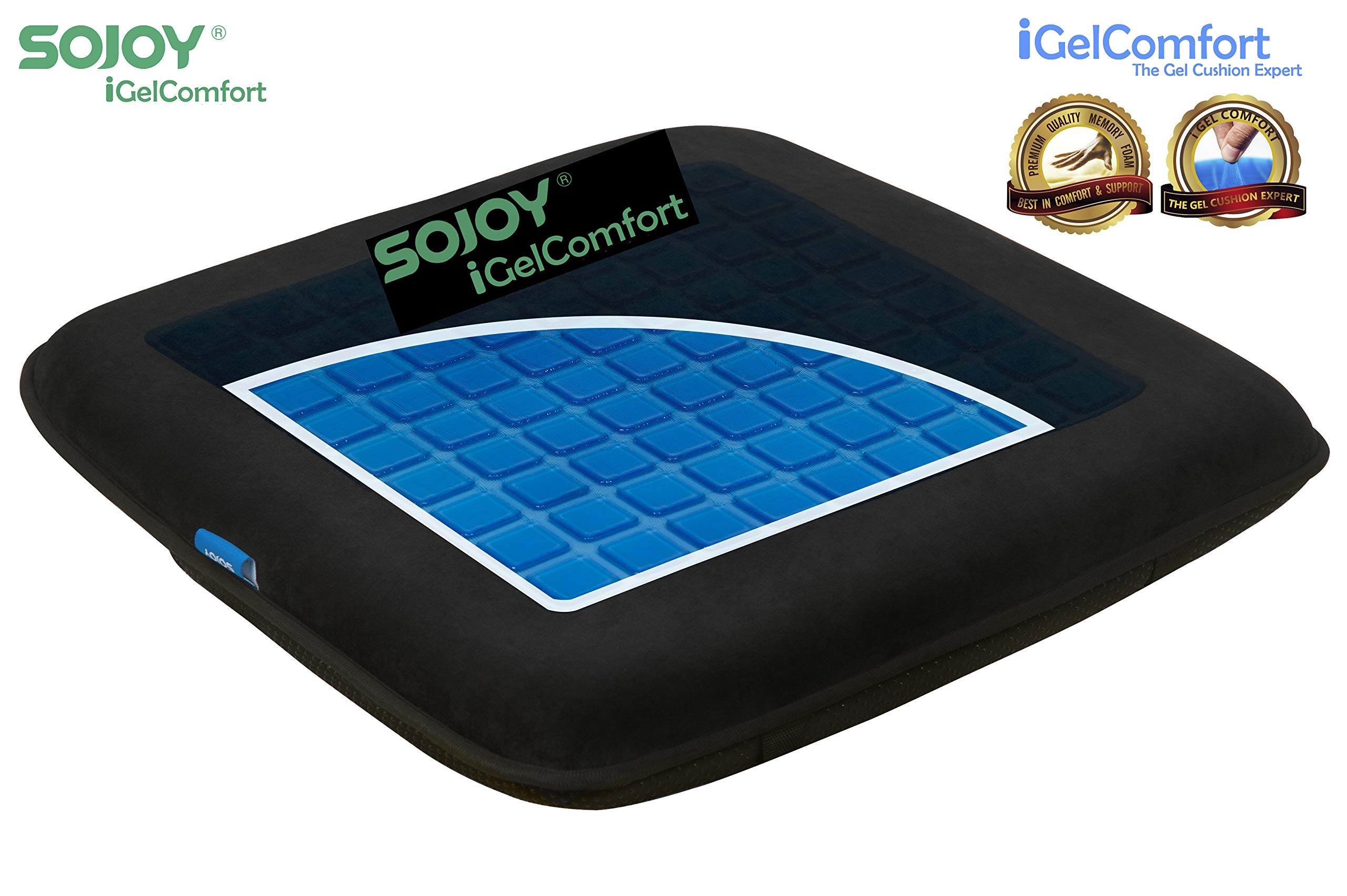 Sojoy iGelComfort Enhanced Multi-Use (Car/Office/Truck/Home/Wheelchairs/Outside) Gel Seat Cushion with Memory Foam (Black) (16x16x2)