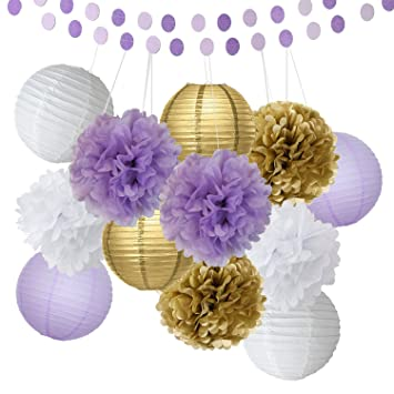 Bridal Shower Decorations 14pcs White Purple Gold Tissue Paper Pom Pom  Paper Lanterns Circle Paper Garland
