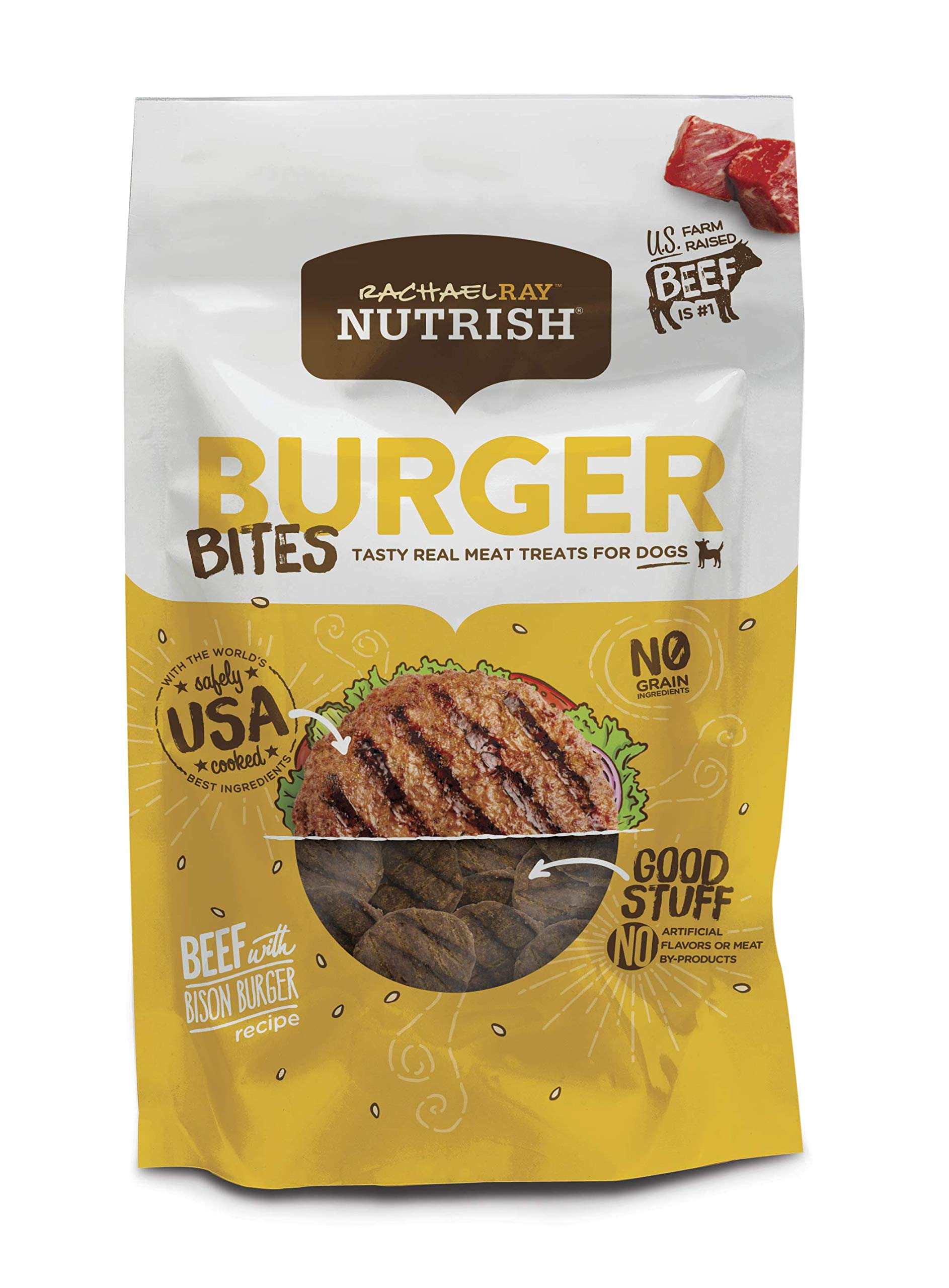 Rachael Ray Nutrish Burger Bites Dog Treats, Beef Burger With Bison Recipe, 12 Oz