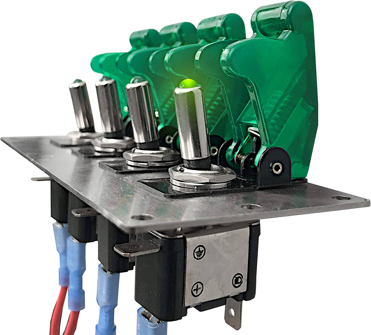 MGI SpeedWare 4 LED Toggle Switch Panel 12vDC with Safety Covers Green