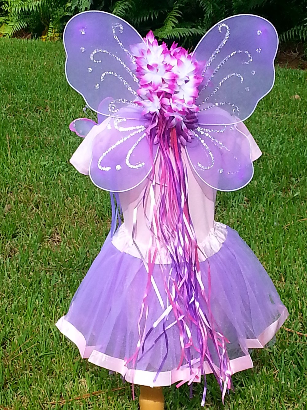 5 PC Girls Lavender and Pink Fairy Set with Wings, Wand, Halo and Flower Clip Age 2-7 by Fairytale Play
