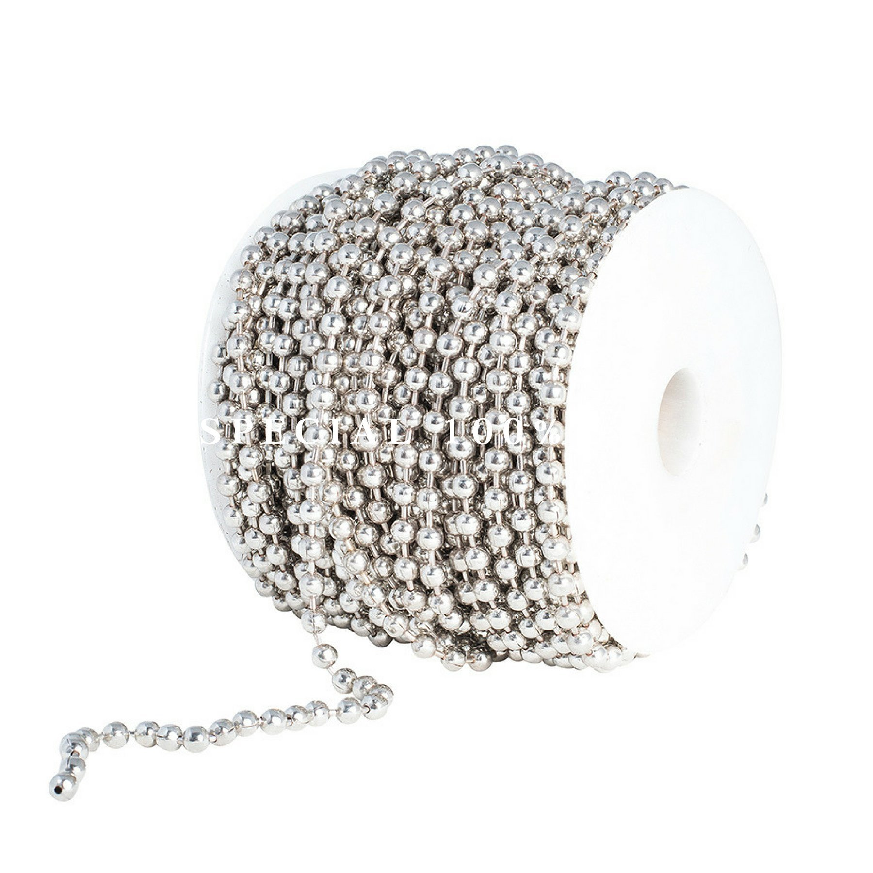 Ball Chain Spool 5mm Bead Diameter, Large Nickel Plated Steel 100 Feet (33 Yards) Included 30 Pc Matching 5mm Connectors by Special100%