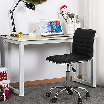 Yaheetech Chaise de Bureau à Roulettes Chaise Ordinateur Sans Accoudoirs pour AdoEnfantMaison Charge max.120 kg Noir