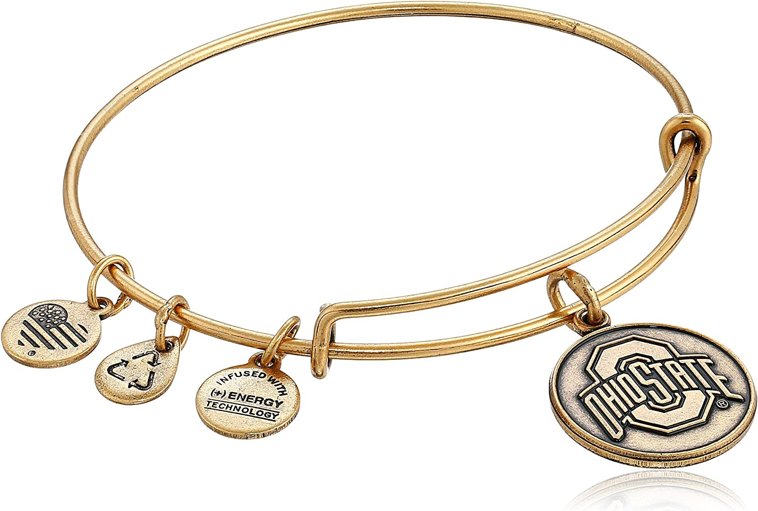 CustomCharms Indiana State Gold Expandable Wire Charm Bracelet Bangle w//Clear Color Crystals