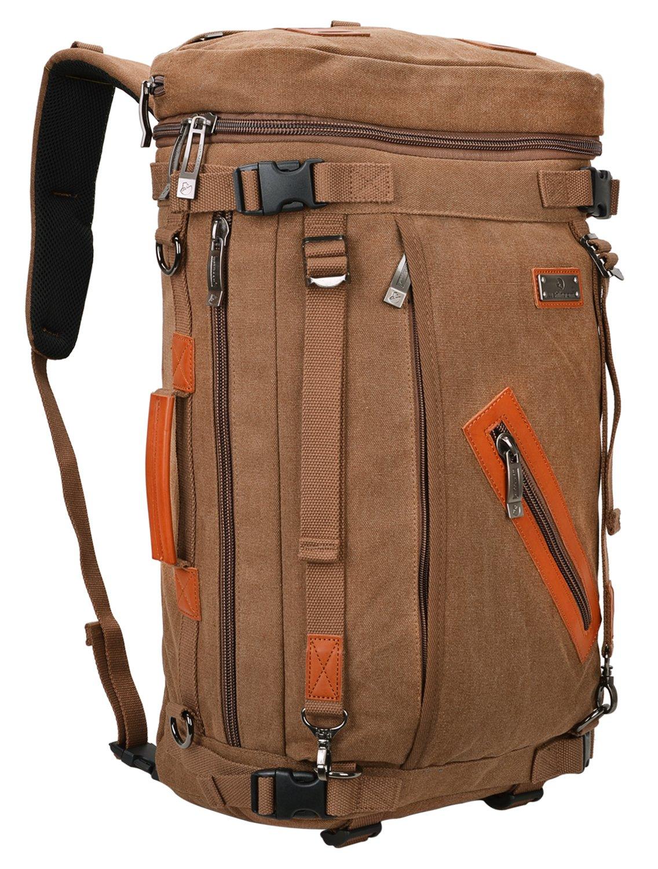 wshihaomキャンバスリュックサック旅行バッグハイキングバッグラップトップバックパックa303 (ブラウン、1サイズ)   B076FBK71G