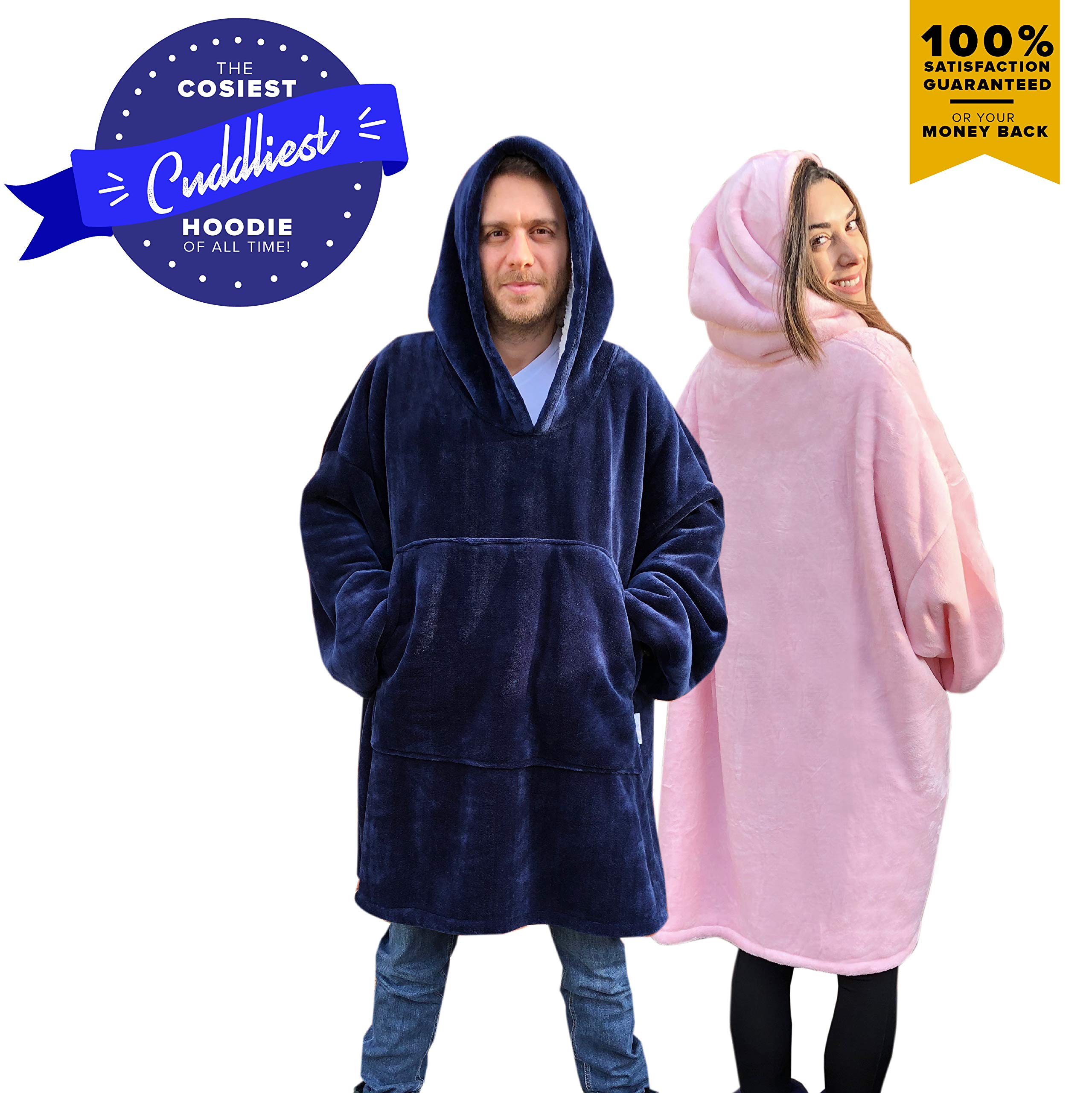 Snuggle Hoodie-Sweatshirt Blanket. The Most Comfortable Wearable Sherpa Giant/Oversized Sweatshirt Blankets Hoodie with Large Pockets and Sleeves for Adults Men, Women, Teens and Kids (Blue and Pink)
