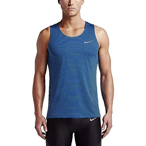 fc0a637120b2 Amazon.com  Nike Men s Dri-Fit Racing Print Running Singlet-NavyBlue LtBlue  2XL  Sports   Outdoors