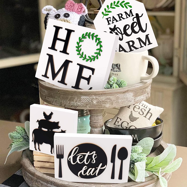 Farmhouse sign for tiered tray decor; farmhouse tier tray; farmhouse decor; decorative tray