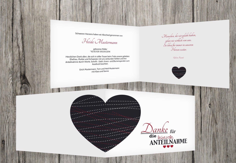 Compra calidad 100% autentica Borgoña Borgoña Borgoña 90 Karten agradecimiento luto Corazón, borgoña, 90 Karten  servicio honesto
