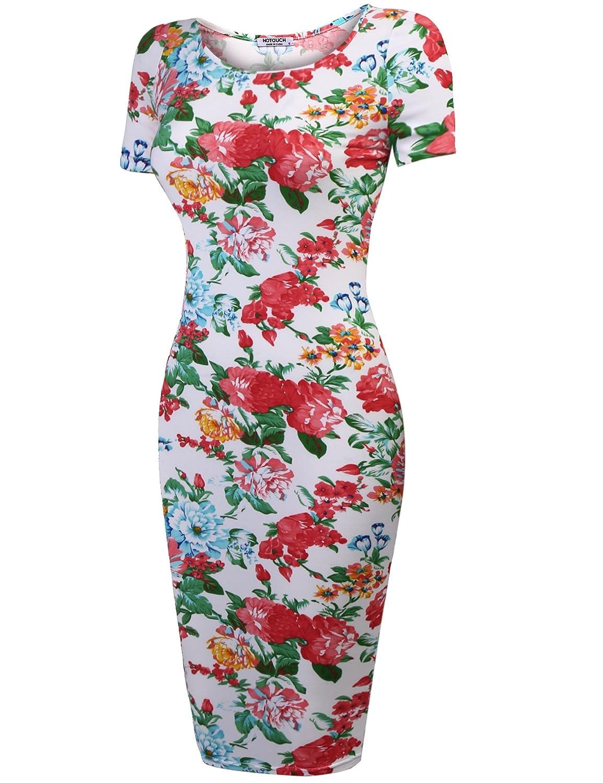 a manica corta abito midi al ginocchio con gonna a tubo Hotouch abito aderente da donna fantasia floreale