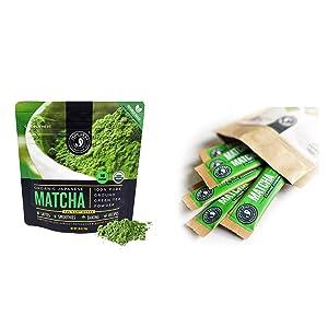 Jade Leaf Matcha + Stick Packs Bundle - Organic Matcha Green Tea Powder Culinary Pouch (30g) and Ceremonial Stick Packs (10ct)