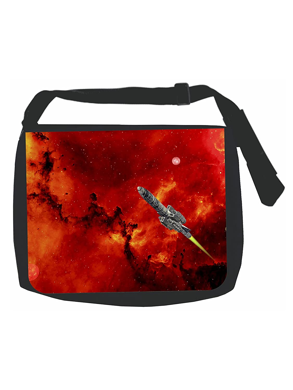 Rocket Ship Blast Off Black Laptop Shoulder Messenger Bag and Small Wire Accessories Case Set