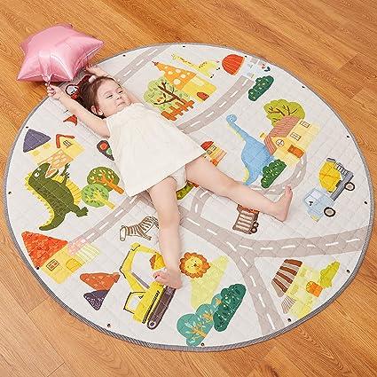 buyger 2 en 1 joli tapis de jeu rond et sac de rangement jouet pour bebe enfant tapis d eveil lavable diametre 140cm