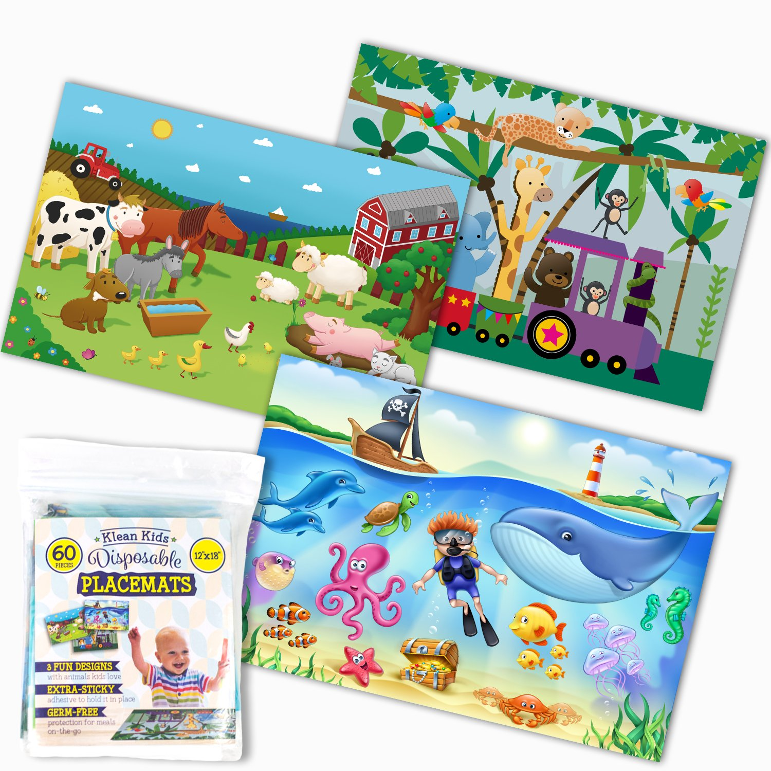 Klean Kids Disposable Placemats for Baby and Kid's Table - Farm, Sea Life, Zoo Train Animals - Sticky Topper - 60 Pack in 3 Designs by HomeWorthy