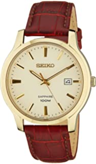 Seiko Quartz Sapphire Cream Dial Leather Band Mens Watch SGEH44