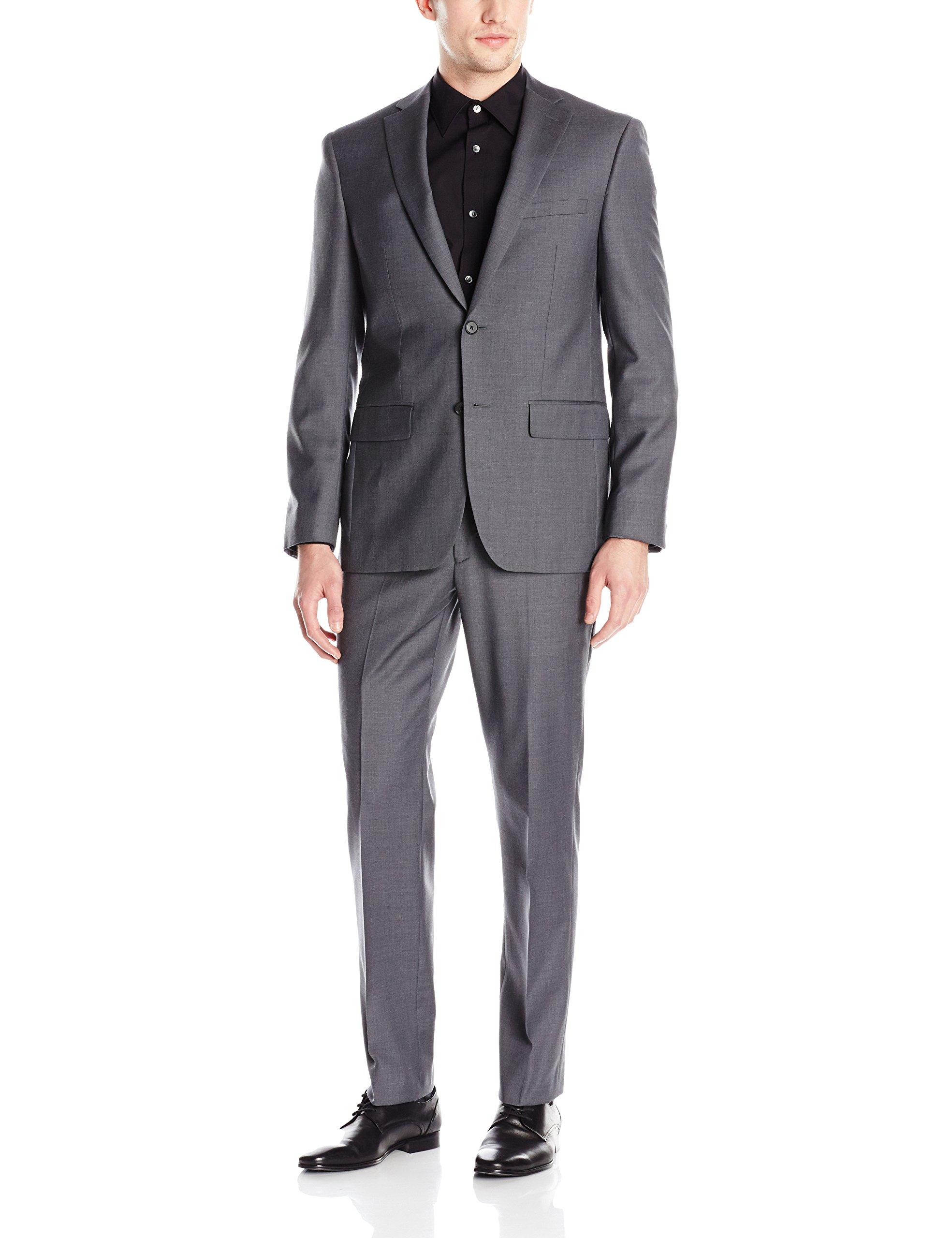 DKNY Men's Dominic Slim Fit Single Breast 2 Button Suit, Grey, 44 Long