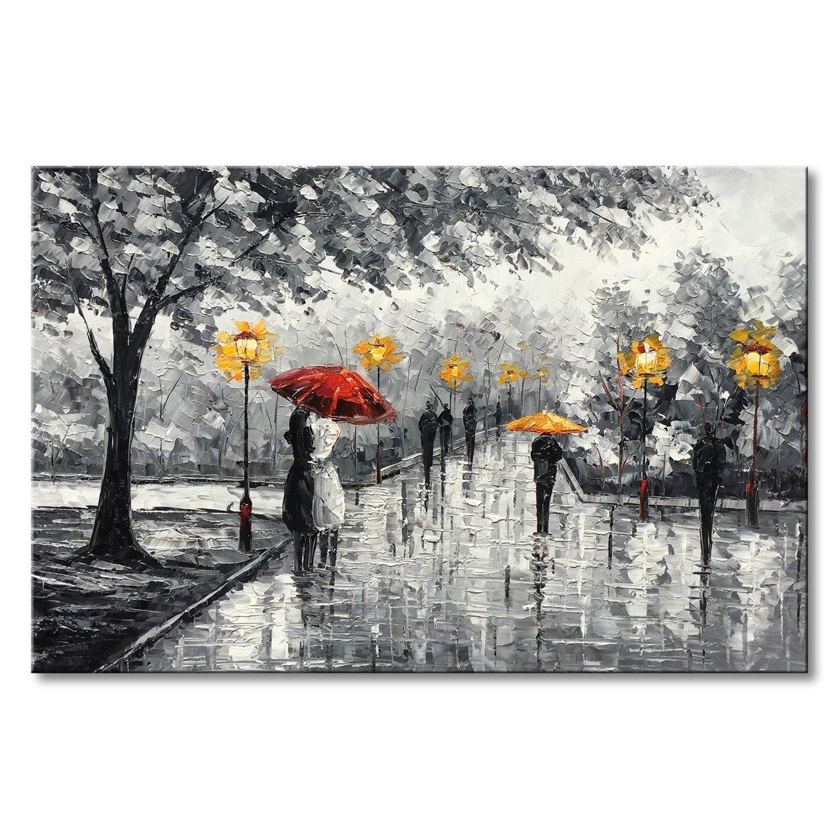 Amazon Com Canvas Art Red Umbrella Oil Painting Handmade
