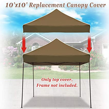 the latest f96af 43ce1 Strong Camel Pop up 10'X10' Replacement Ez Gazebo Canopy Awning Roof Top  Cover (Brown)