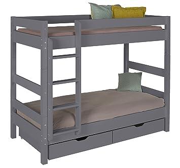 idkid S litera con colchón y Almacenamiento – 90 x 190 – Madera Maciza Gris