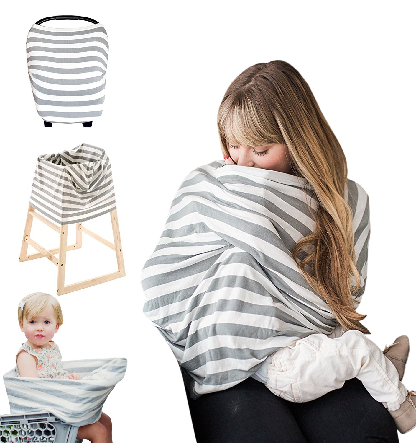 Nursing Cover For Breastfeeding - Baby Car Seat Cover - Stroller, Shopping Cart, High Chair, Carseat Covers | Baby Gift For Boys and Girls | Multi-Use Nursing Scarf With Bonus Pouch