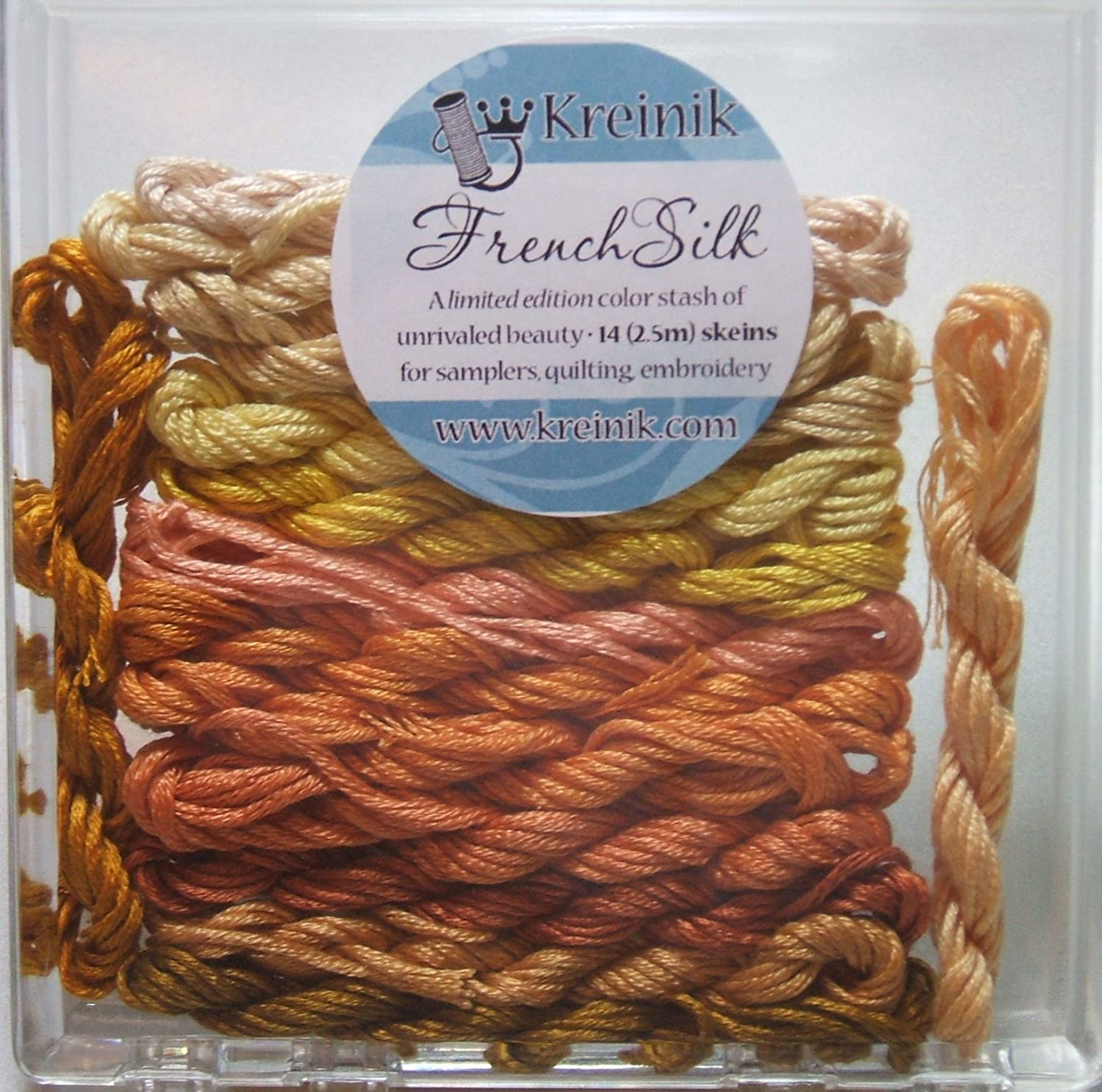 Kreinik French Silk Set for Needlecrafts ~ Yellow 14 Skeins 2.5 m of each #4200 B4200