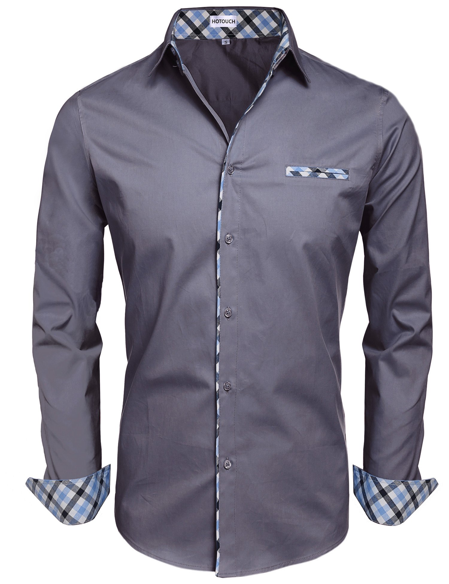 Hotouch Men Contrast Business Dress Shirts with Fake Pocket Dark Grey L