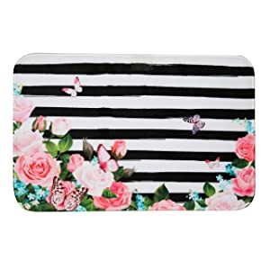 "Floral Memory Foam Bath Mat Plush Bathroom Decor Rug Thick Shaggy Bathroom Floor Carpet Absorbent, Super Cozy Non Slip Machine Wash and Dry,16"" X 24"", Pink Flowers White and Black Stripes"